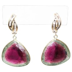 20CT Natural Rosecut Watermelon Tourmaline Slice with Diamonds Earrings 14KT Gold