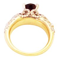Unique Elegant Natural Bubble Gum Pink Tourmaline Diamond 3-D 2 Layers Cocktail Ring in 14KT Yellow Gold