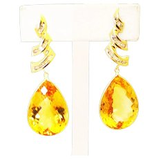 36CT Natural Citrine with Diamonds Earrings 14KT Gold