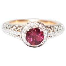 Unique Elegant Natural Rubellite Tourmaline Diamond 3-D 2 Layers Cocktail Ring in 14KT Yellow Gold