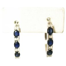 Natural Blue Sapphire and Diamonds Hoop Earrings 14KT White Gold
