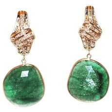 25CT Natural Rose cut Colombian Emerald Slice with Diamonds Earrings 14KT Gold