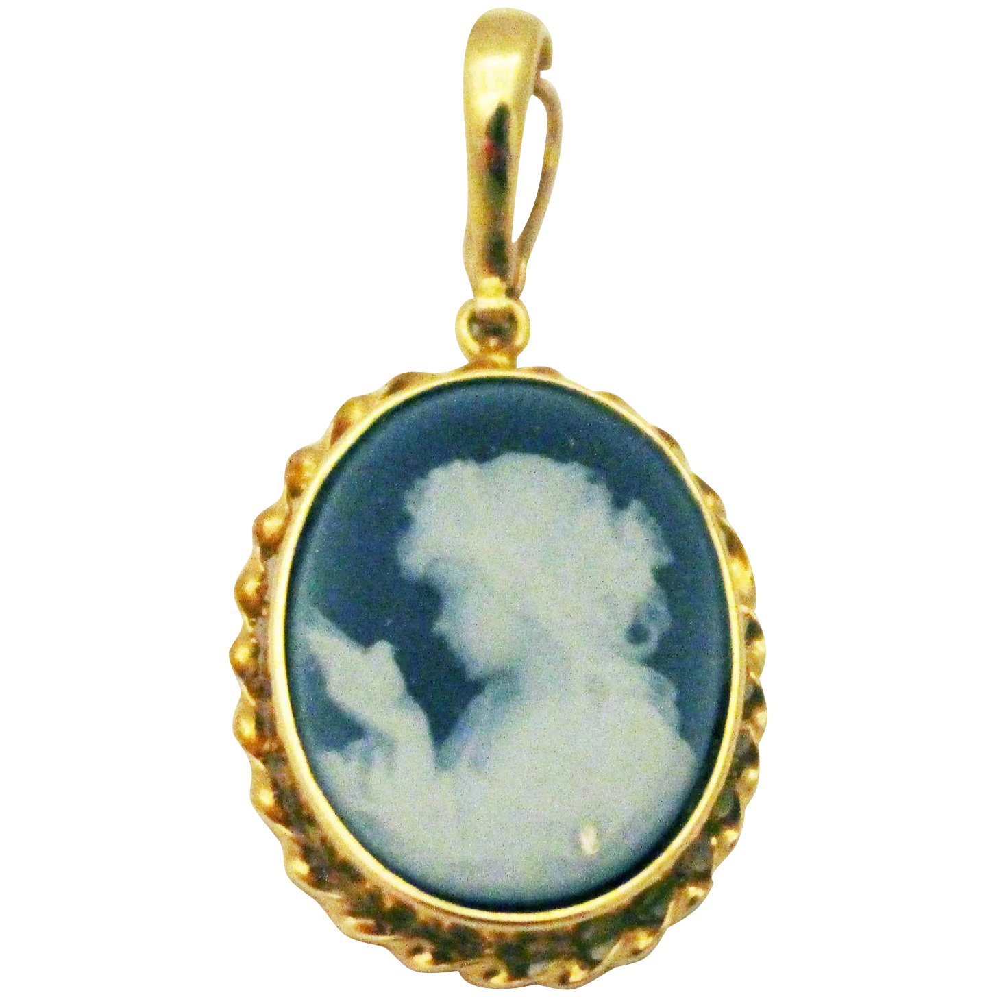 Natural Hand Carved Blue Agate Cameo Pendant 14kt Yellow