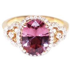 3 CT Amazing Natural Pink Spinel and Diamond Ring in 14KT Yellow Gold