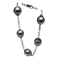 12mm Baroque Cultured Tahitian Pearls Bracelet 14KT White Gold