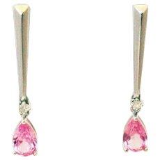 Pink Sapphire and Diamond Earrings 14KT White Gold Earrings