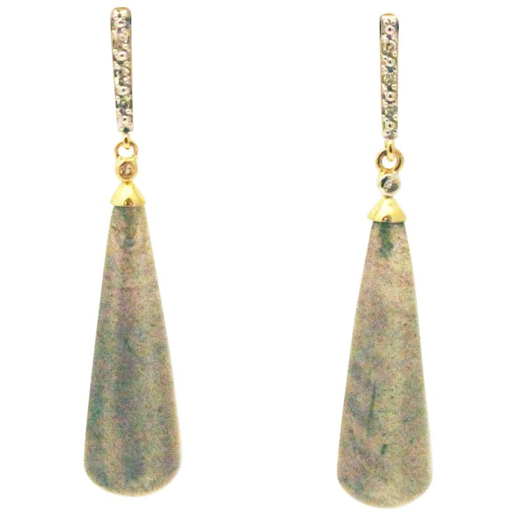 Labradorite And Diamond Earrings 14kt Yellow Gold