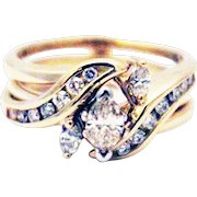 Most Unique Natural Diamond Engagement and Wedding Band Rings Set 14KTGold