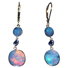 Natural Australian Opal and Tanzanite Line Earrings in 18KT Yellow Gold