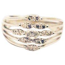 Unique Elegant Natural Diamond Cocktail Ring in 14KT White Gold