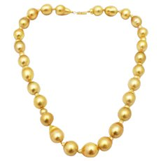 Stunning Rich Color Cultured Golden South Sea Baroque Pearls Necklace 14KT Gold