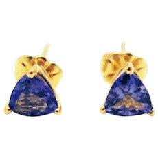 Natural Tanzanite Trillion Stud Earrings 14KT Yellow Gold