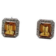 Gorgeous Golden Emerald Cut Citrine Diamond Ring & Earrings Set in 14KT White Gold
