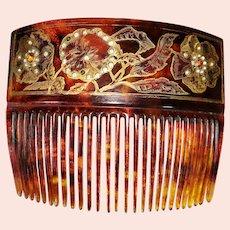 1910 Edwardian Ornate 22 Karat Gold-Trimmed Hair Comb
