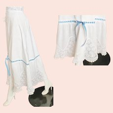 1910's Edwardian Crocheted-Lace 'n Cotton Skirt