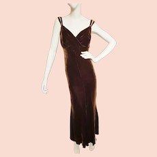 1920's-30's Sultry, Sleek Velvet Long Dress