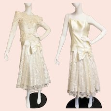 1920's-Style Lace & Satin Tea Length Gala Gown or Wedding Dress