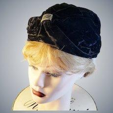 1920's Turban Black Velvet Hat