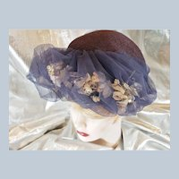 1930's-40's Flower & Netting Fancy Hat