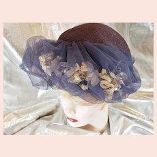 1930's-40's Flower & Netting Fancy Hat