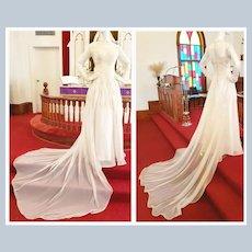 1930's - 40's Lace Applique & Satin Wedding Gown