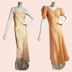 1930's Lace Evening Gown with Matching Slip