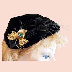 1930's Velvet Hat...Pinned 'n Feathered!!