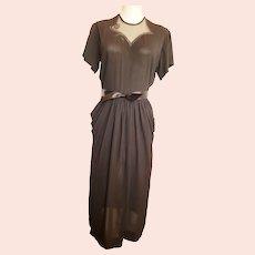 1940's Cascading Little Black Dress