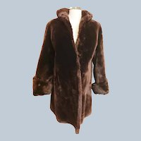 1940's Mocha Mouton Shimmery Swing Coat