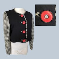 1940's Style 2-Tone Jacket, Black, White & Red