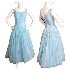 1950's - 60's Dusty-Blue Dance-Floor Beauty