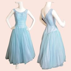 1950's - 60's Dusty-Blue Dance-Floor Beauty