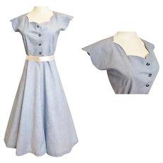 1950's Flirty, Feminine, Fabulous Blue Day Dress