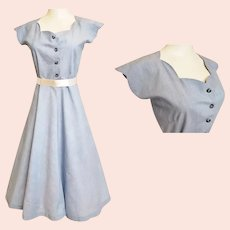 1950's Flirty, Feminine, Fabulous Blue Day Dress