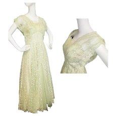 1950's Greek Goddess Green Gown