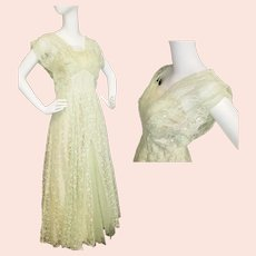 1950's Greek Goddess Green Gown
