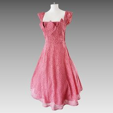 1950's Rose Pink Lace COCKTAIL Dress
