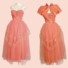 1950's Strapless Coral Prom Dress with Bolero