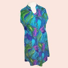 1960's Gem-Colored Curvy-Lady Go-Anywhere Dress