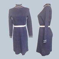 1960's Mad Men Navy & White Knit Dress