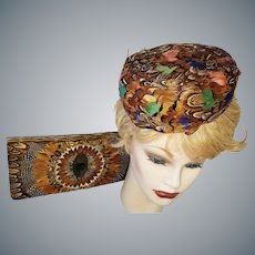 1960's Pill Box Hat & Clutch Purse COMBO!