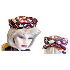 1960's Red, White & Blue Pill Box Hat