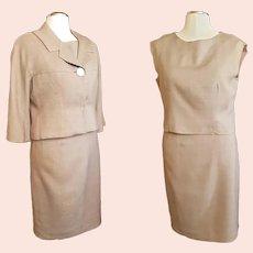 """1960's Tasty """"Milk-Chocolate"""" 3-Piece Linen Suit"""