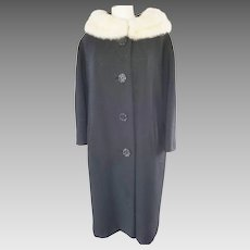 1960's Warm Wool Coat with White Mink Collar