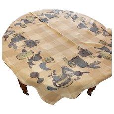 "1960's ""Indigo Blue"" Pattern LINEN Tablecloth"