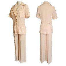 1970's BUTTE KNIT Apricot Safari Pant Suit