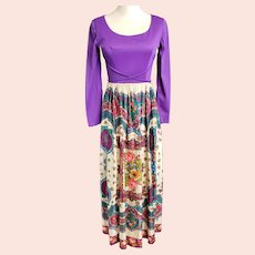 1970's Flower-Power Purple Maxi Dress