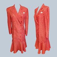 "Ann Taylor ""Charleston"" Red & White Silk Dress"
