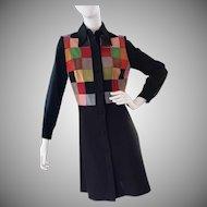 1970's BAKALLI Suede Coat-Dress, Mondrian Design