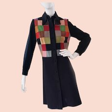 1970's BAKALLI Suede Coat-Dress, Mondrian Design